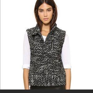 Rebecca Taylor 6 s/m med m black tweed moto vest